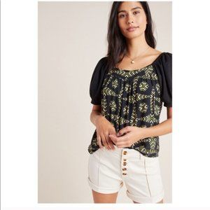 Anthropologie Maeve Catania Puff Sleeve Top